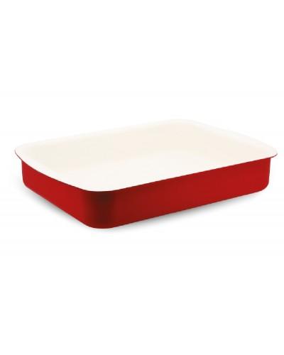 Hascevher Astoria 30 cm Seramik Köşeli Tepsi - Kırmızı