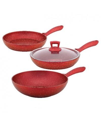 Hascevher Germanitium 4 Pcs Granit Set(28Wok/28Tv/20Tv/28CamKapak) Kırmızı
